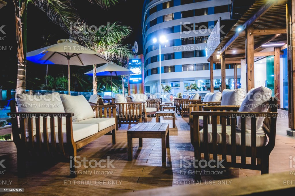 ISLAND, Colombia _ Circa March 2017. Blend Bar of Decameron Hotel at...