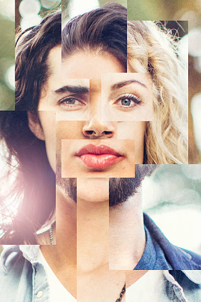 blended face of men and woman - mozaïek stockfoto's en -beelden