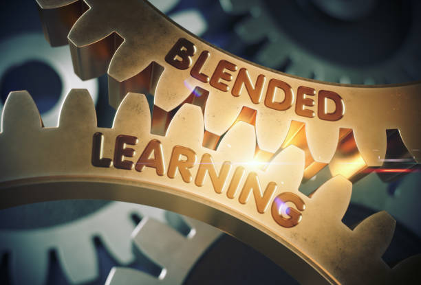 blended-learning-konzept. goldene zahnräder. 3d illustration - lernfortschrittskontrolle stock-fotos und bilder