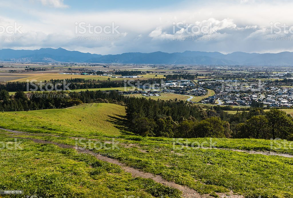 Blenheim and Wairau plains from Wither Hills, New Zealand stock photo