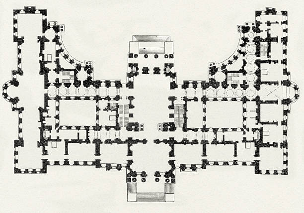 Blenheim Palace, Oxfordshire, England - Blueprint stock photo