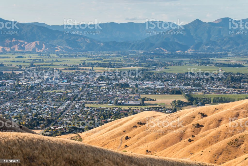 Blenheim town at sunset stock photo