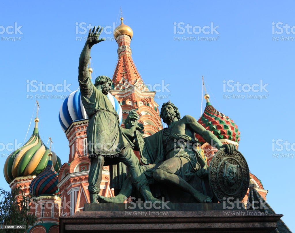 blessed basil cathedral and Statue of Minin and Pozharsky in Moscow stock photo