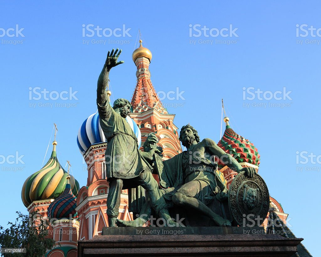blessed basil cathedral and Statue stock photo
