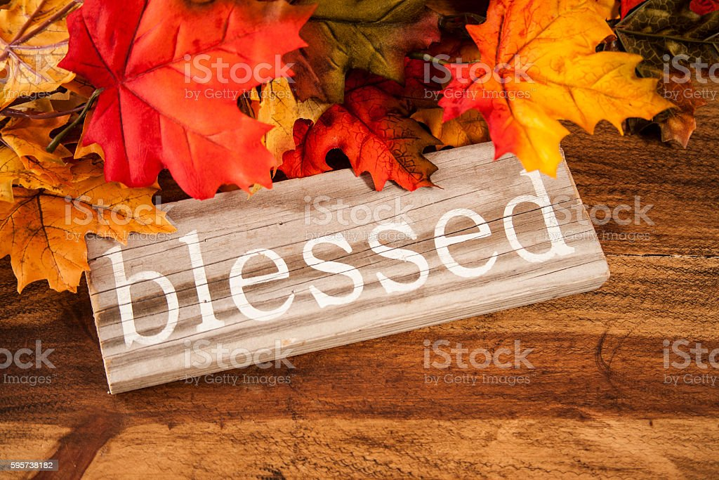 Blessed sign on wooden board with autumn leaves for Thanksgiving. stock photo