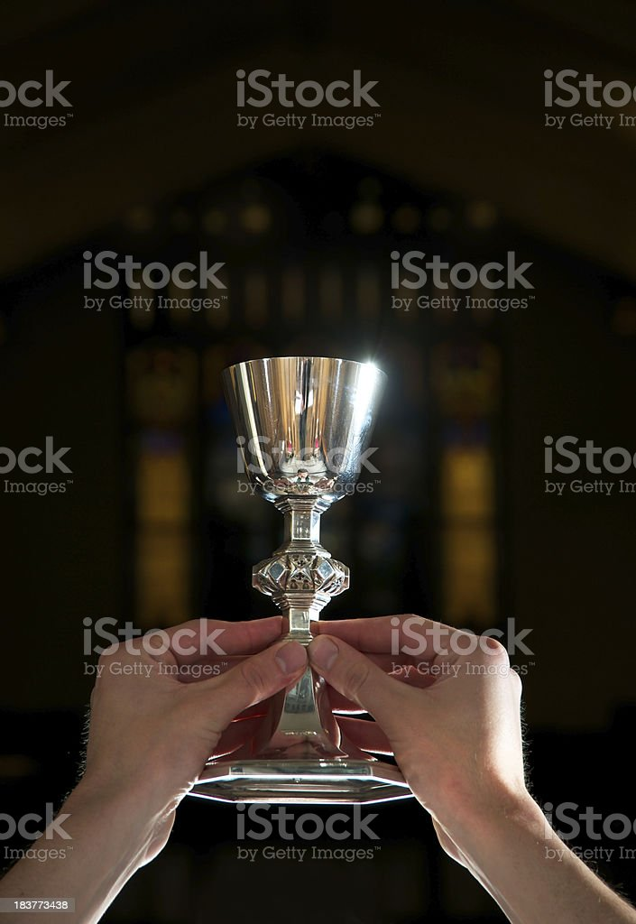 Blessing of Communion Wine, Vertical, Close-up stock photo