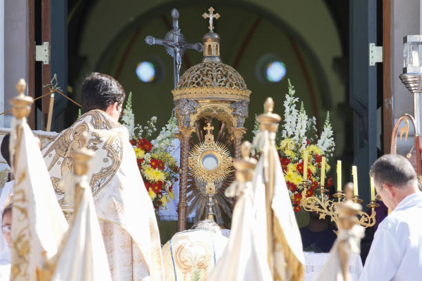 Blessing with the Blessed Sacrament at the end of the Corpus Christi Procession stock photo