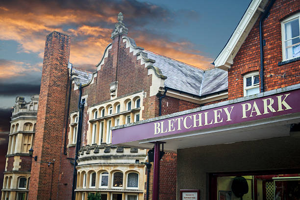 Bletchley Park Sign in front of the main building at the famous site of Britain's code-cracking operation in World War 2 buckinghamshire stock pictures, royalty-free photos & images