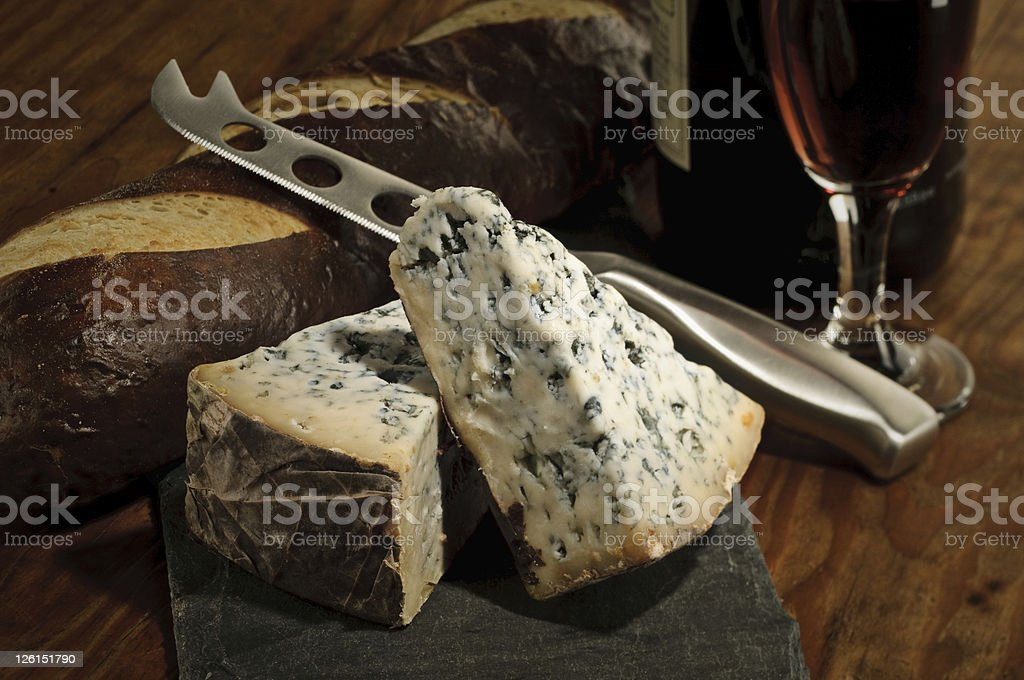 Bleu Cheese and Port Wine stock photo