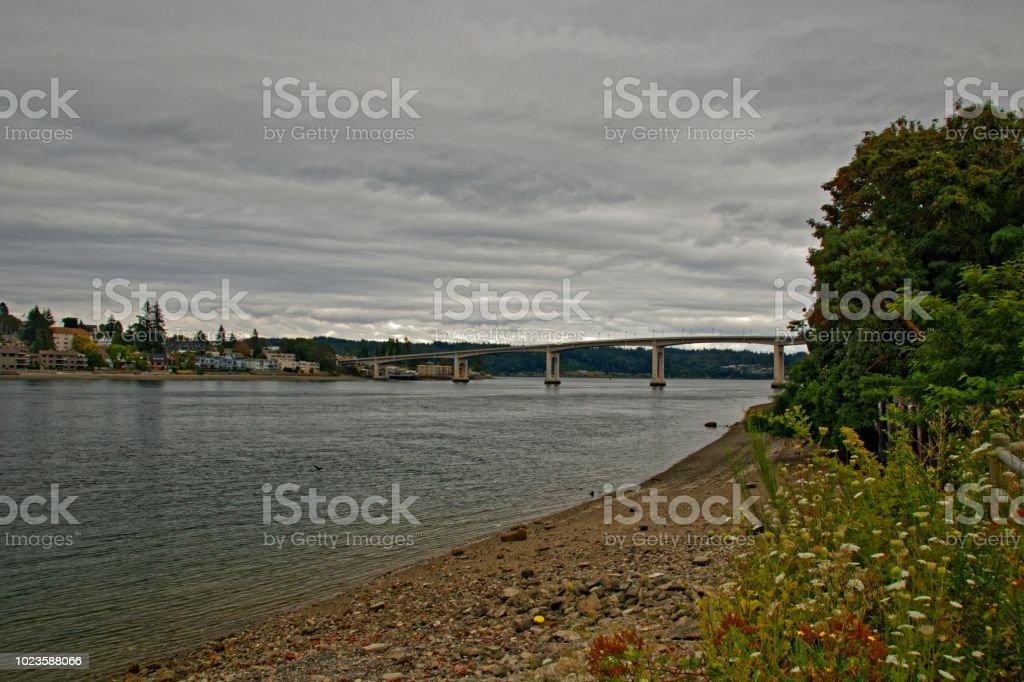 Blick auf die Manette Bridge in Bremerton und Manette stock photo