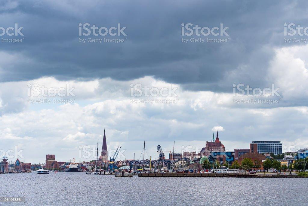 Blick über die Warnow auf Rostock stock photo