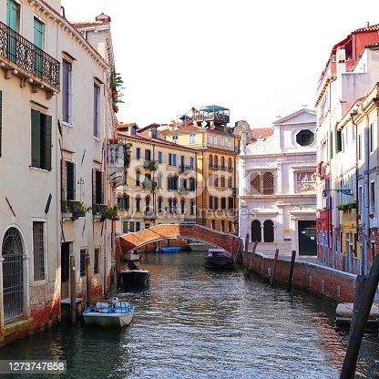 VENICE - View along the 'Rio di S. Antonin' canal to the 'Scuola Dalmata dei SS. Giorgio e Trifone', San Giorgio degli Schiavoni, Calle dei Furlani, Italy