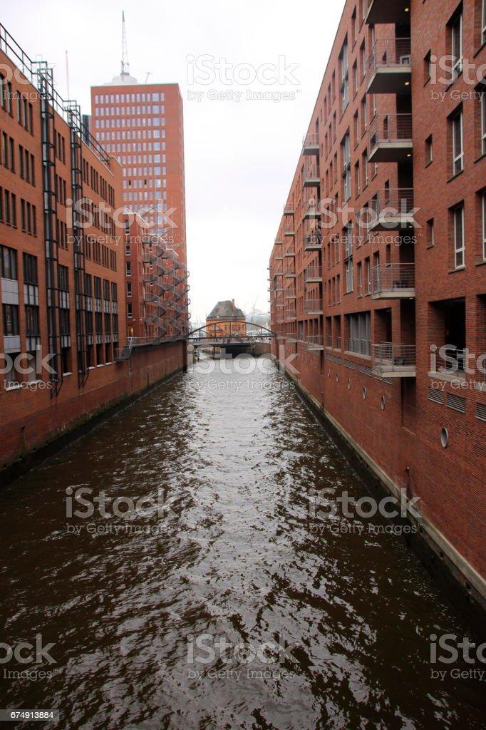 Blick in die Speicherstadt in Hamburg royalty-free stock photo