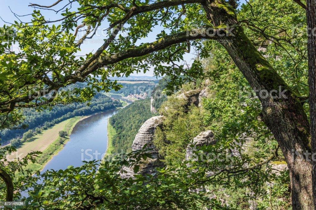 Blick von der Bastei ins Elbtal stock photo