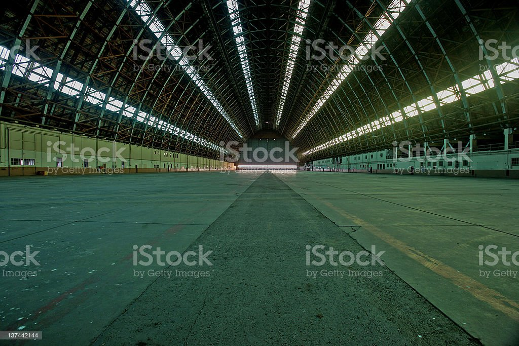 blimp hanger stock photo