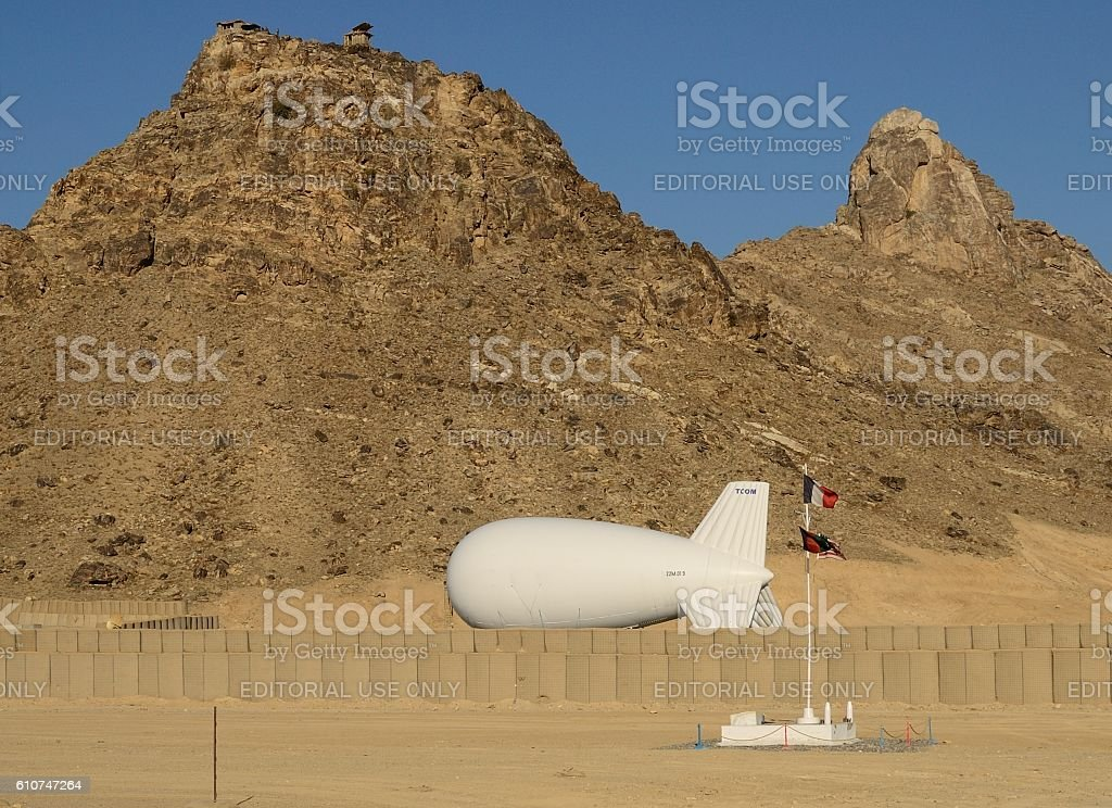 Blimp in military camp stock photo