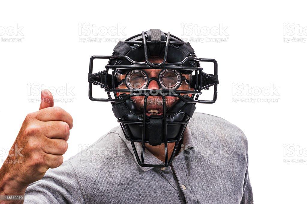 Blind Baseball or Softball Home Plate Umpire wearing eyeglasses stock photo