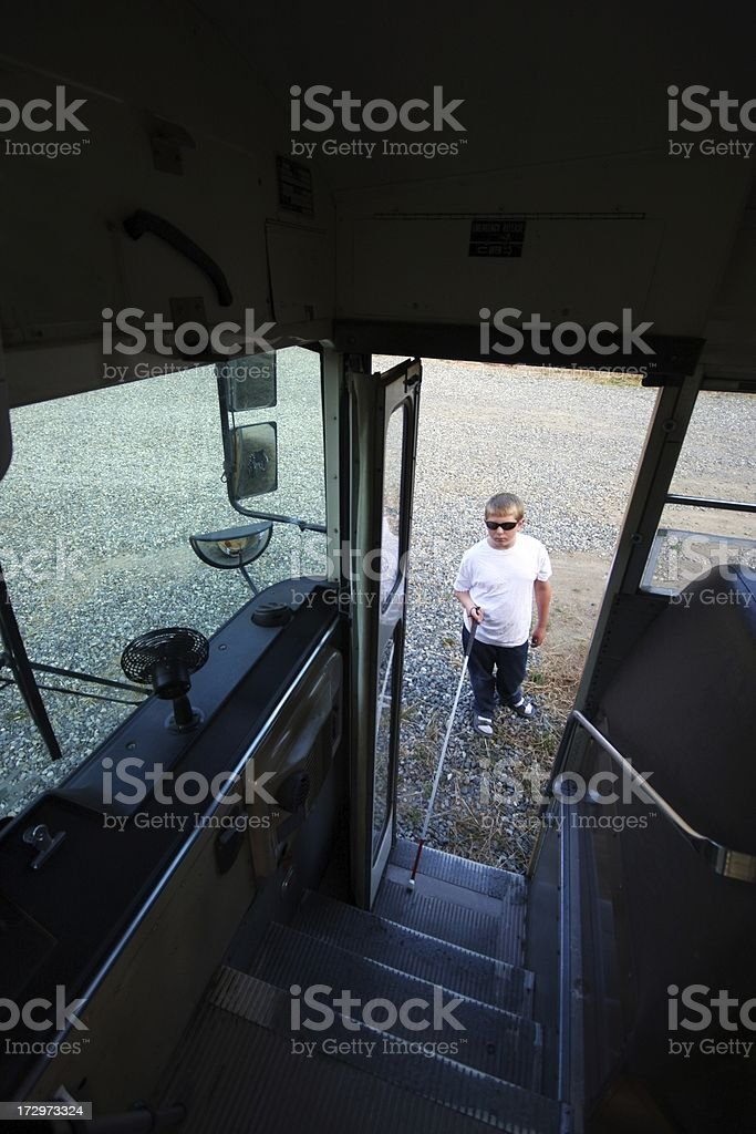 Blind Bus Rider stock photo