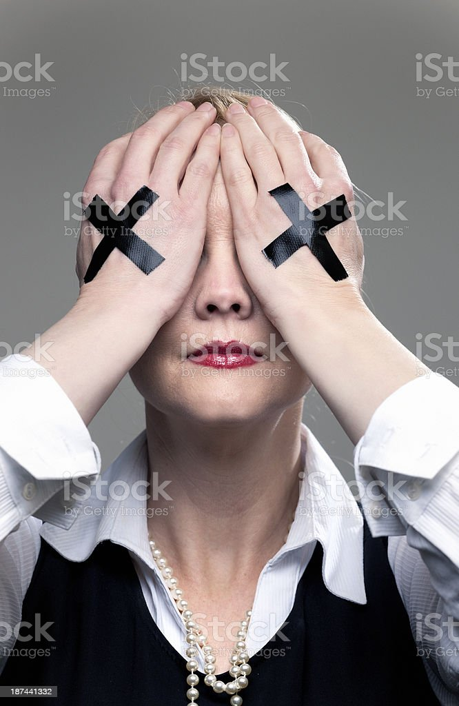 blind businesswoman with no vision stock photo