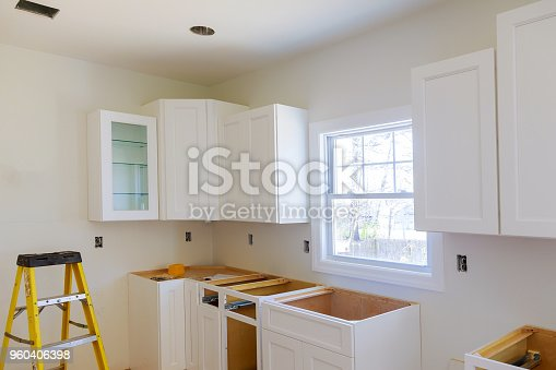 1070686034 istock photo Blind cabinet, island drawers and counter cabinets installed 960406398