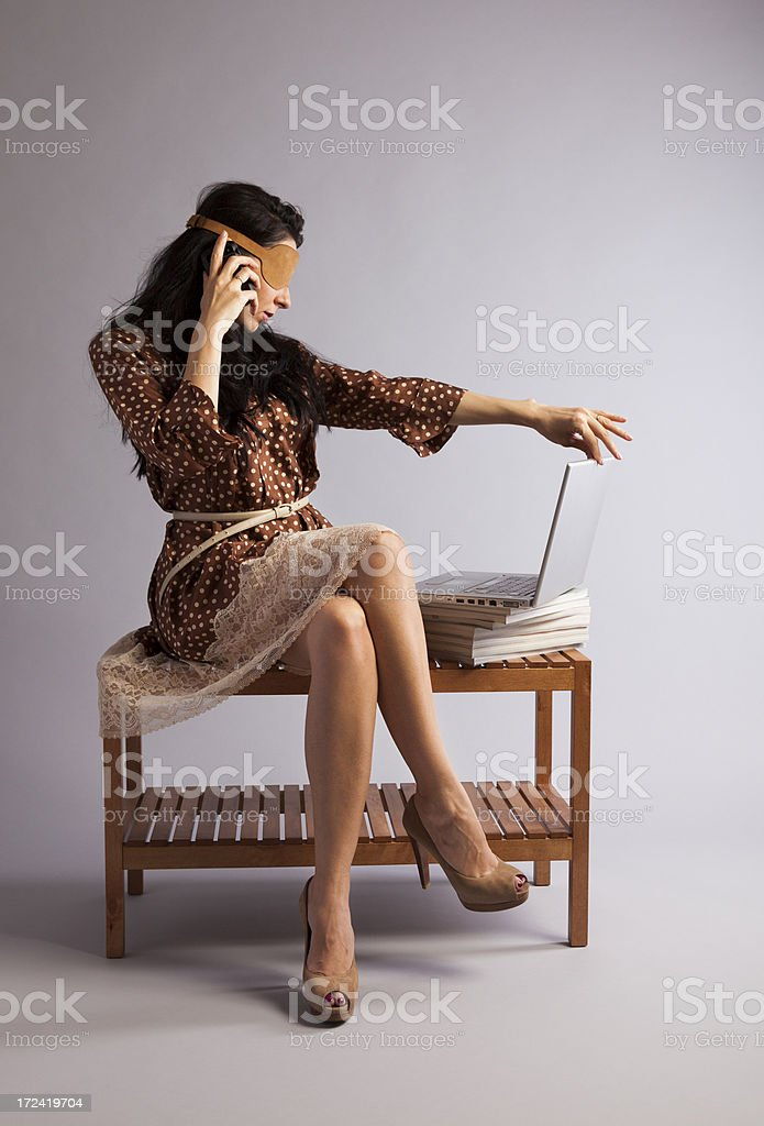 Blind Date on Internet. Young woman searching her dream man. royalty-free stock photo