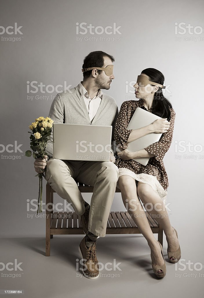 Blind Date on the Internet. Concept. stock photo
