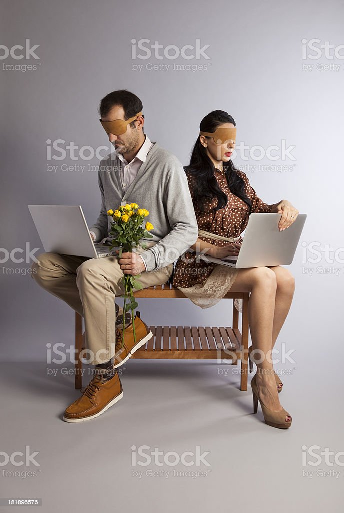 Blind Date on the Internet. Modern Relationships. Concept. stock photo