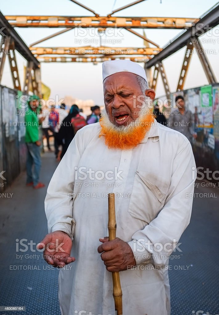 Blind Indian begger stock photo