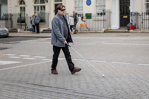 Blind man in a street stock photo