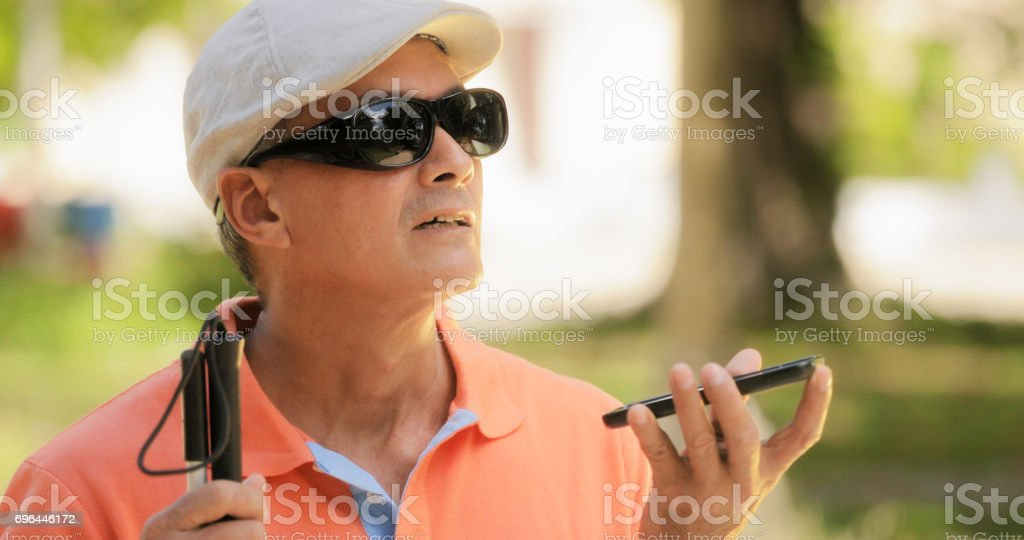Blind Man Talking With Mobile Phone Disabled Man Speaking'n stock photo