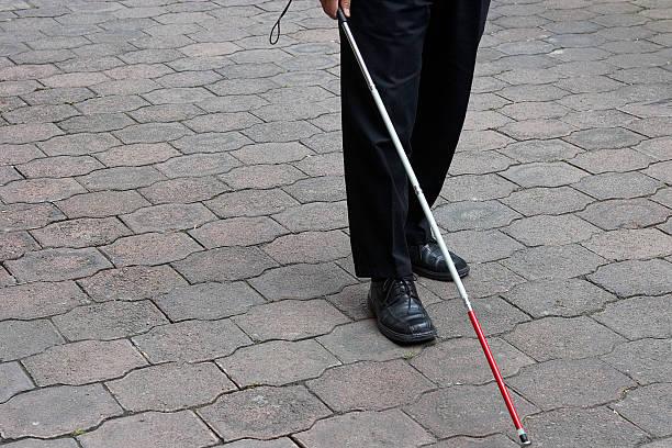blind man walking stock photo
