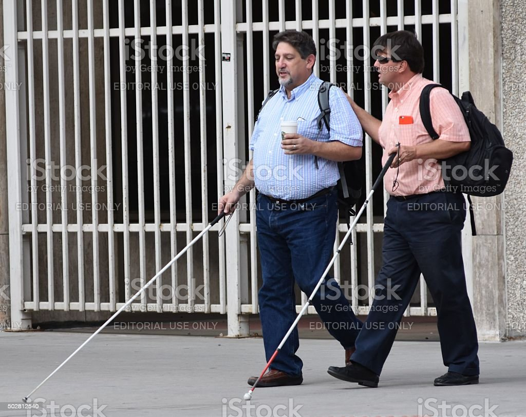 Blind Men Walking stock photo