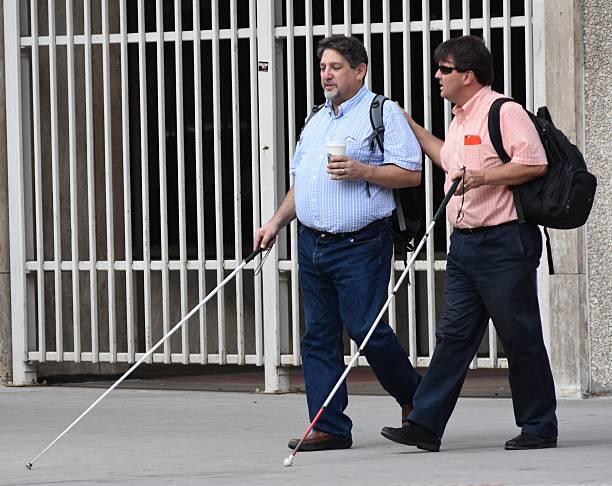 Blind Men Walking stock photo