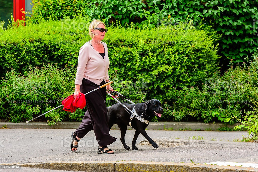 Blind woman stock photo
