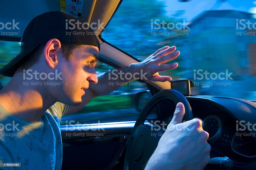 blinded by the oncoming traffic stock photo