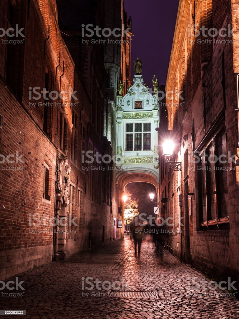 Blinde-Ezelstraat street in Bruges by night stock photo