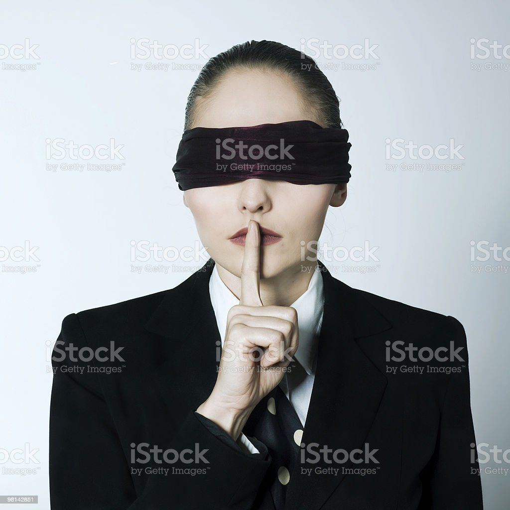 blindfold business woman silence royalty-free stock photo