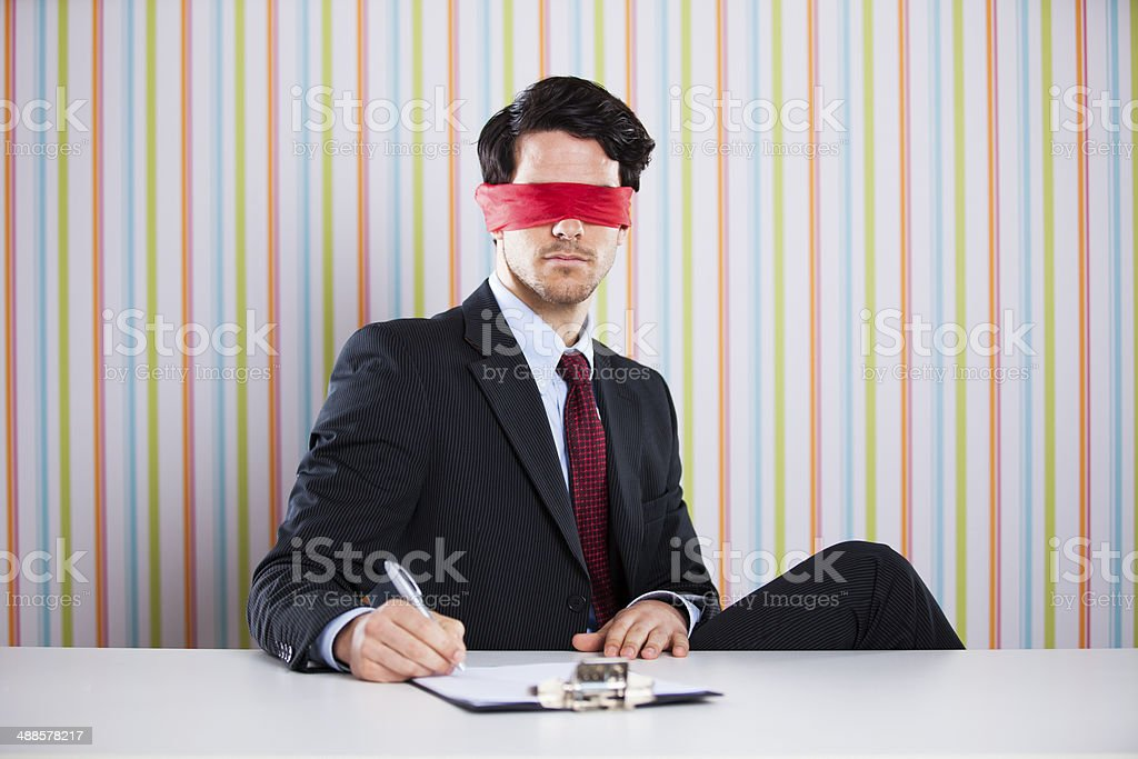 Augenbinde Geschäftsmann – Foto