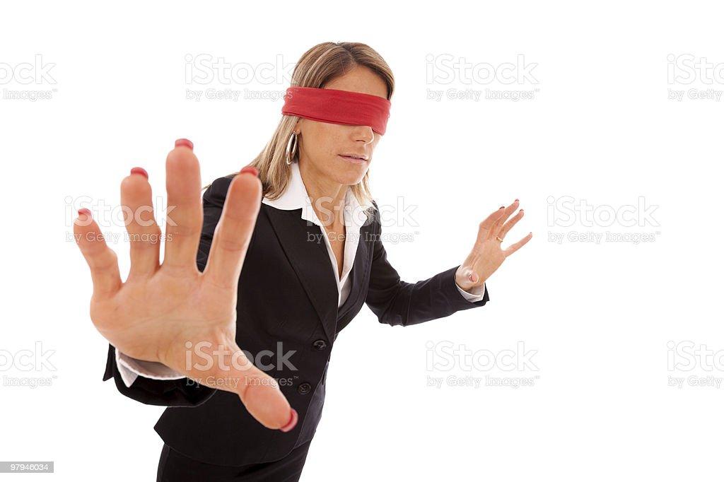 blindfold businesswoman royalty-free stock photo