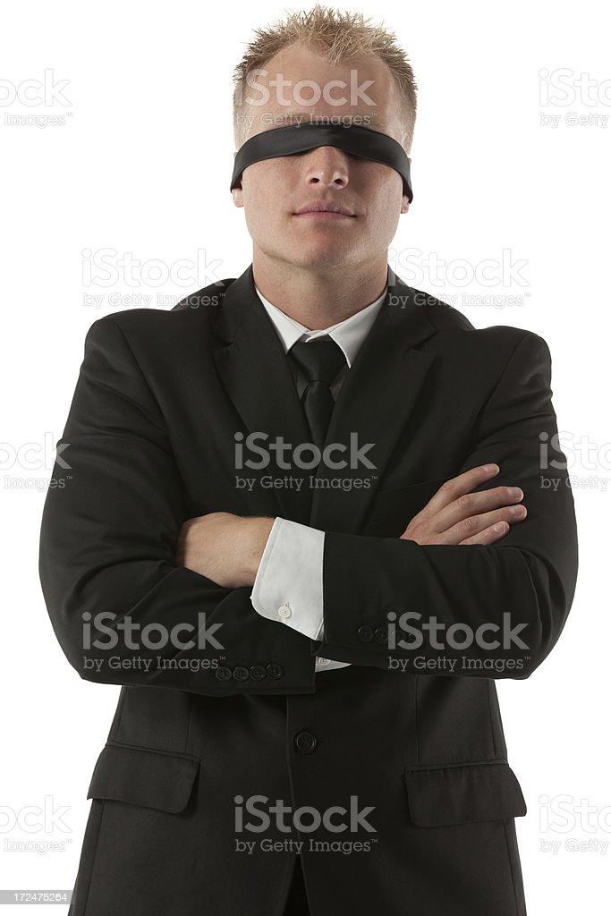 Blindfolded businessman royalty-free stock photo