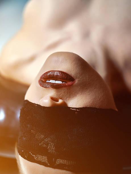 blindfolded feelings stock photo