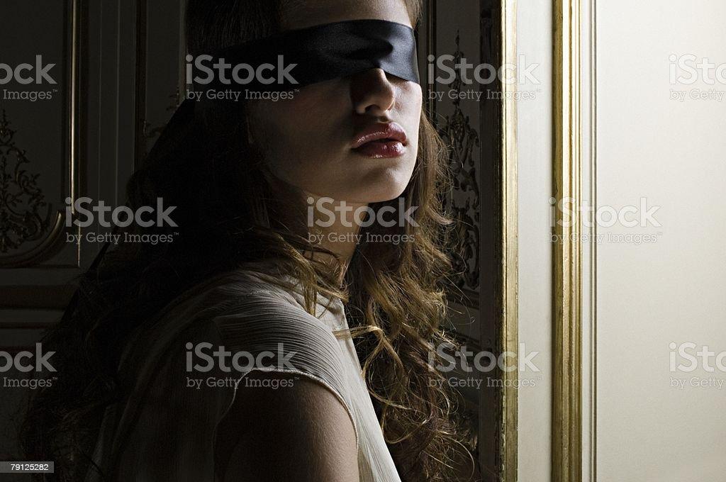 Blindfolded hispanic woman royalty-free 스톡 사진