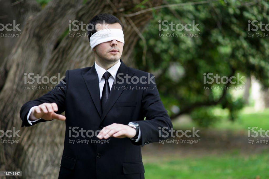 Blindfolded Lost Businessman stock photo
