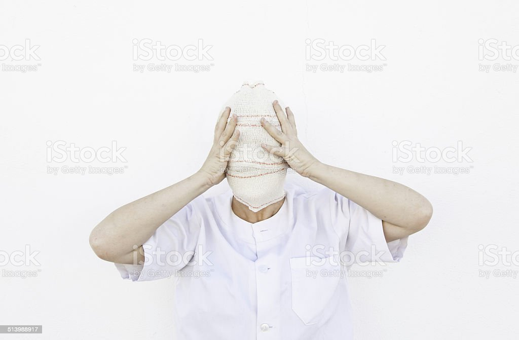 Blindfolded person stock photo