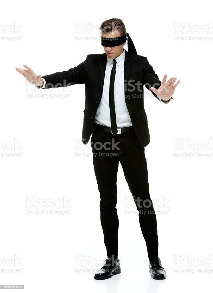 Ceguera hombre de negocios búsqueda foto de stock libre de derechos