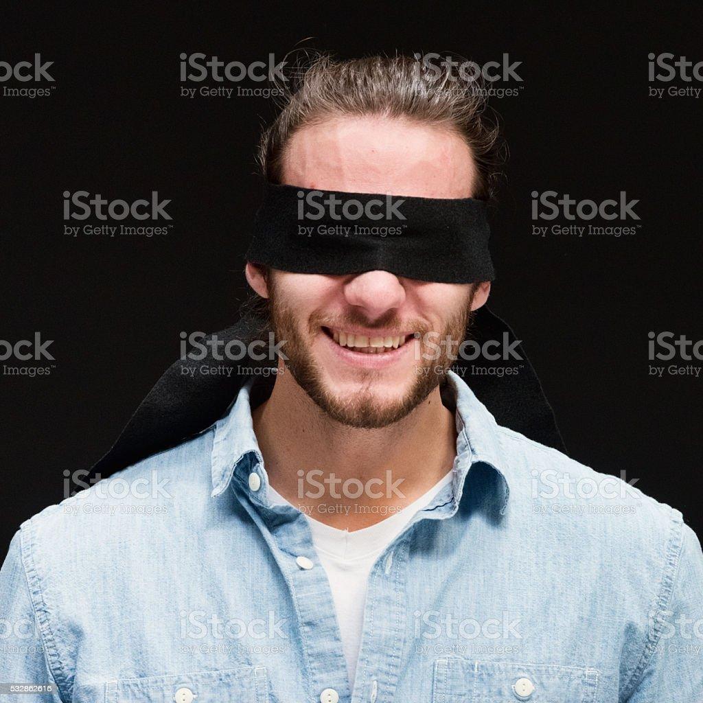 Blindness man smiling stock photo