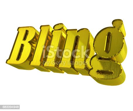 Bling word 3D gold graphic image