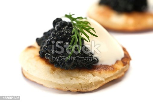 Blinis with Black Caviar