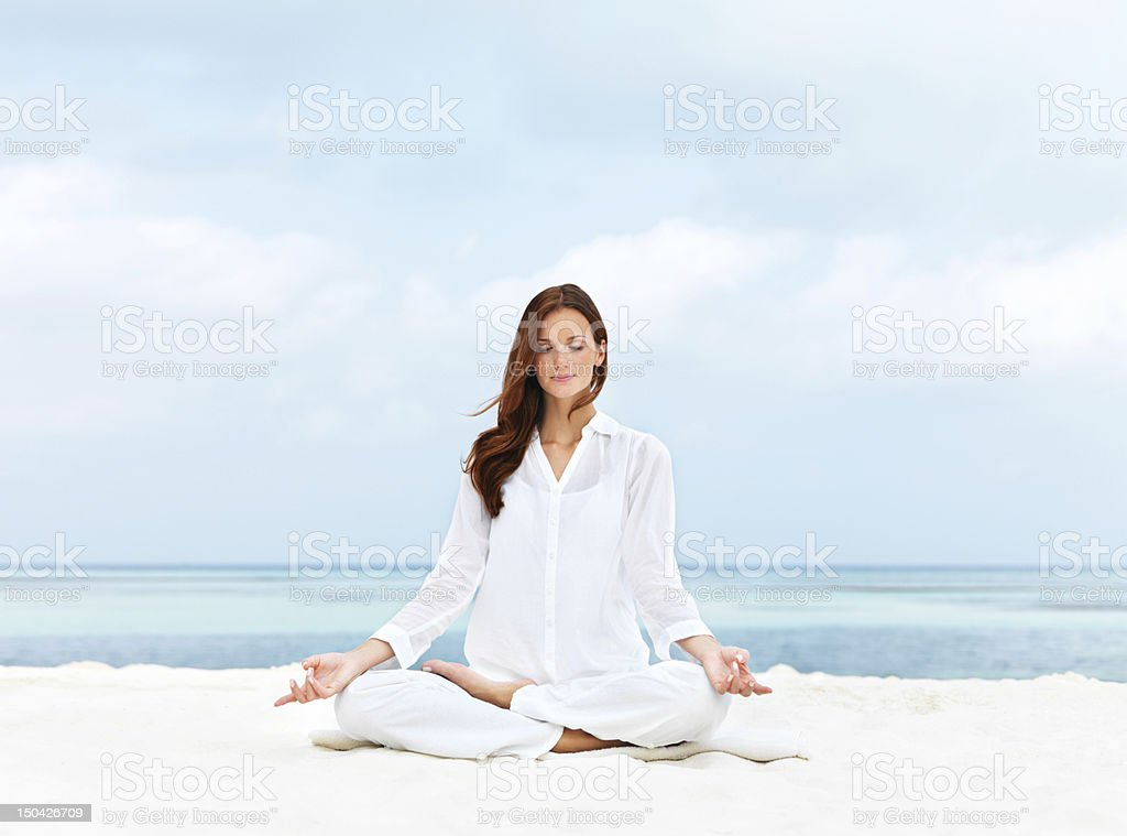 Blissful meditation stock photo