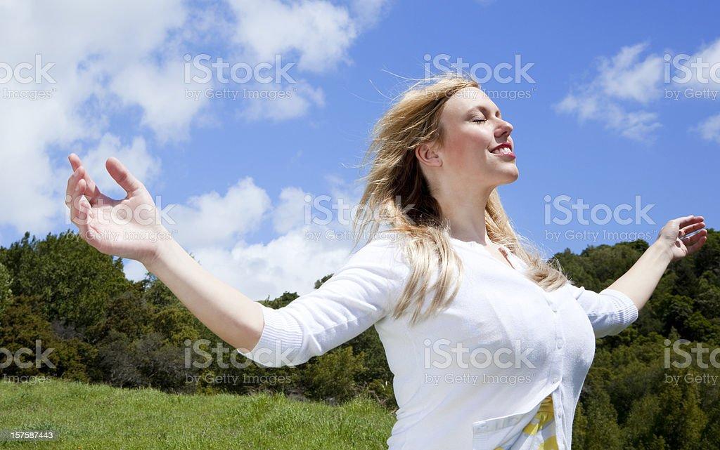 blissful woman royalty-free stock photo